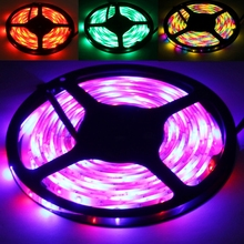 waterproof rgb led strip light 2835 smd flexible led strip dc12V 60led 5M RGB led rope + Remote controller(China)