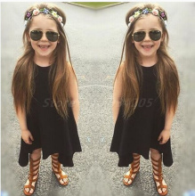 New 2017 casual kid girl summer dress max batwing loose sleeveless asymmetric girl clothing children fashion dresses black gray