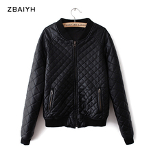 ZBAIYH Brand Winter Jacket Women Parkas Fur Manteau Femme Argyle Warm Leather Coat Quilted Outwear Girls Cools Motorcycle Jacket(China)