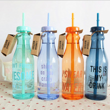 650 ML Double cover Straw Water bottle Candy color fresh Summer Sport My Water bottle portable  cute Zakka Plastic tumblers