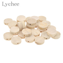 Lychee 30pcs/lot Flat Wood Round Beads Unfinished DIY Wood Chips Circles Wood Discs Wooden Tags Labels(China)