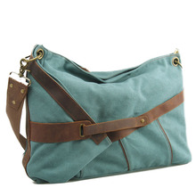 Casual Canvas Women Shoulder bag Simple Panelled Large Capacity Women Messenger bag Blue Dark gray and Khaki colors 50*42*16cm