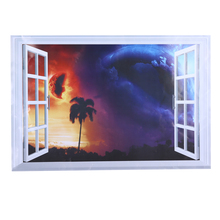 3D Wall Sticker Removable Window Scenery Wall Decals Outer Space Planet Stickers for Living Room Home Decor