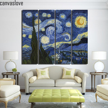 4 piece canvas art starry night brightly wall pictures for living room canvas floral paintings Free shipping/up-1414D