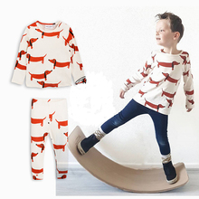 Winter MR Brand Kids Clothing Set Thicken Cotton Dachshund Baby Face 2017 Boys Clothes Cartoon Girls T-shirt+pants Bobo Choses(China)