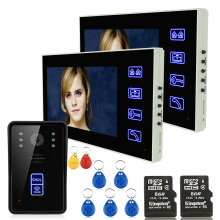 "7"" 2 X Monitors Recording RFID Video Door Phone Intercom Doorbell With 8G TF Card Night Vision Security CCTV Camera(China)"