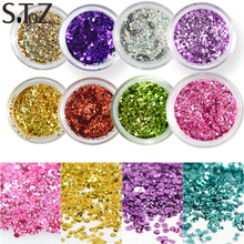 STZ 1 bottle Hexagonal Water Drop Glitter Slice Paillette Sheets Nail Art Powder Dust Dazzling 3D Sparkly Glitter Tips CHD01-11