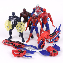 9pcs/set Anime Spiderman Rush With Web with LED Light PVC Figure Collectible Model Toy 6-16cm(China)