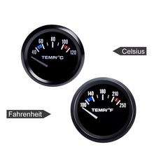 "Water Temp Car Gauge 2"" 52mm 40~120 Celsius Centigrade / 100~250 Fahrenheit Temperature 12V Auto Instrument Black Bezel"