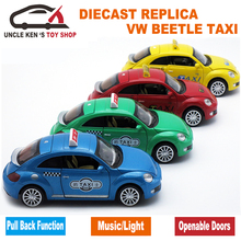 15CM Length 1:32 Diecast Model Car, Taxi Toys As Boys/Children Gift With Pull Back Function/Light/Sound/Openable Doors(China)