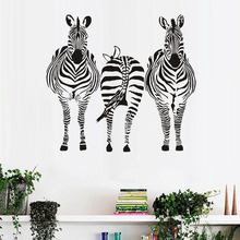 Three Zebra Wall Stickers For Kids Room Wall Decor African Style Nursery Wallpaper Wall Art Decals Home Decoration Accessories(China)