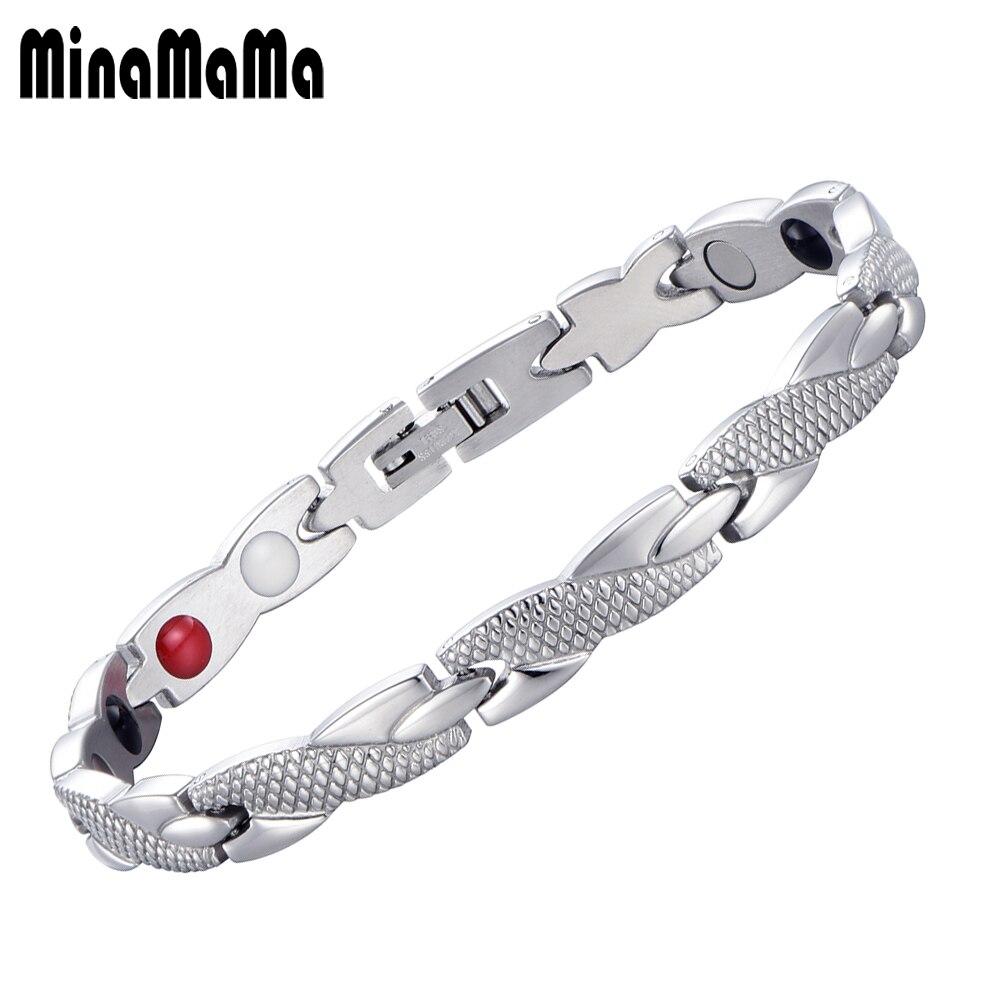 Mens Jewelry Healing Power Magnetic Infrared Ion Health Stainless Gelang Kesehatan Bio Black Naga Steel Perawatan Germanium Magnetik Untuk Wanita Pria Keseimbangan Energi Perhiasan Hadiah
