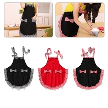 Elegant Cooking Dress Cute Women Bib Pretty Bowknot Aprons Kitchen Restaurant(China)