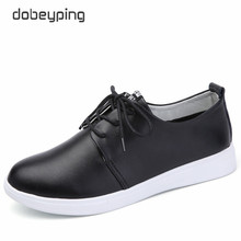 Buy High Cow Leather Women's Casual Shoes Spring Autumn Fashion Lace-Up Female Flats Shoe Solid Woman Shoes White Black for $16.93 in AliExpress store