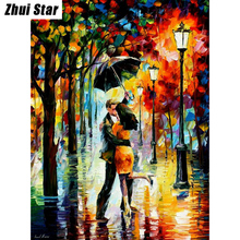 5D DIY Diamond Painting Lovers under umbrella Embroidery Full Square Diamond Cross Stitch Rhinestone Mosaic Painting Decor Gift(China)