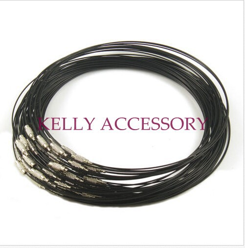 "300pcs Black Memory Wire Cable Steel Chain Charms Necklaces 18 "" Clasp Choker Necklace Jewellery"