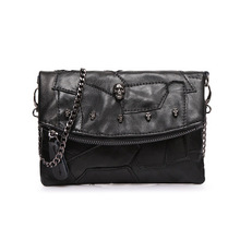 Only 2 Models Unique Design Fashion Casual OL Office Bag All-Match Big Women's Cool Handbag Fashion Punk Skull Messenger Bags(China)