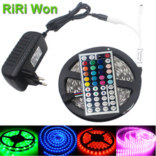 4M 5M 8M 10M 12M LED RGB strip light SMD5050  Fiexible Light 30LED/M 5M DC 12V Adapter Power   RGB strip lamp