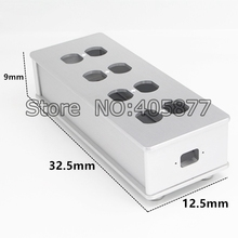 Viborg HIFI US AC Power Strip Bar Distributor Aluminum 6 Outlet Box HIFI Chassis silver