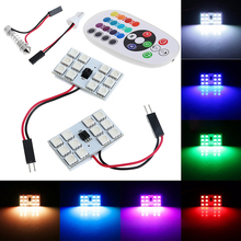 T10 5050 12/15/24/36 SMD RGB LED Car Festoon Dome Reading Light /signal lamp Lamp Bulb Remote Control