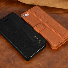"2017 Genuine Leather Luxury Cell Phone Case Wallet Card Slot Filp Cover For iPhone 5/5s/SE,6/6s 4.7"",6/6s Plus 5.5"" Case Cover(China)"