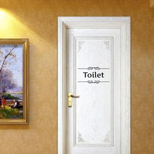 Vintage Wall Sticker Toilet Sign For Bathroom Toilet Door Decal Transfer Toilet Sticker Home Decoration Quote Wall Stickers Cafe(China)