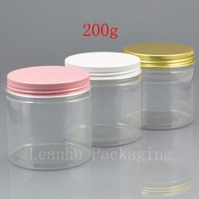 200 grams clear PET Jar,200ml Plastic Jar with colorful cap ,Cosmetic Packaging Personal Care 200g Clear Container Jar(China)