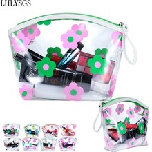 LHLYSGS Brand Five leaves Flowers Waterproof Transparent Toiletry Bag Women Travel Storage Wash Make Up Beauty Cosmetic Bag(China)