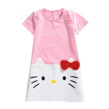 Baby Girls Cartoon Dress 2017 New Summer Hello Kitty Dresses Children Cute Clothing Princess Casual Frocks 3-7T Pink Gray GD18