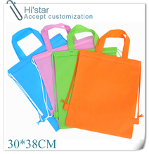 30*38CM 20pcs hot sell in Singapore Coated Recycle Customized Die Cut Handle Best Non Woven Shopping Bag with string(China)