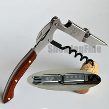 24pcs/lot Customization LOGO for Similar Coutale Corkscrew two Lever Wine Bottle Opener  Layer Wood Handle opener
