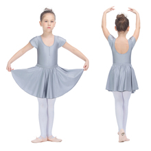 Dancer's Choices Silver Gray Children Dress Nylon/Lycra Cap Sleeve Dancing Leotard with Removable Skirts Girls Ballet Dancewear