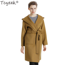 Tcyeek European Autumn Winter Women Woolen Coat Long Hooded Collar Outwear Jacket Warm Double Wool Coat Belt Coat kaban YYJ316