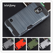 Wolfsay For Case Samsung Galaxy S5 Cover Armor Silicone Rubber Case For Samsung Galaxy S5 Case for Samsung S5 i9600 Card Slot ]<