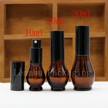 10ml 20ml 30ml Gourd design perfume glass bottles, brown spray glass vial  black spray pump bottle, perfumes bottle mist sprayer