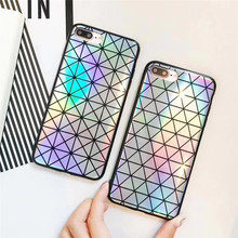 Laser Colorful Triangle Square Phone Case For iphone7 6 6s Fashion Abstract Geometric Back Cover For iPhone 7 plus 8 Plus Capa(China)
