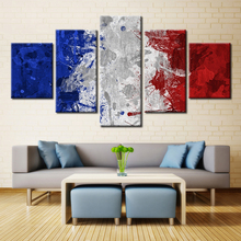 Hot Sale Ink Style National Flags Fashion Gifts for Home Decorations Oil Painting Print on Canvas 5pcs Unframed Canvas Wall Art