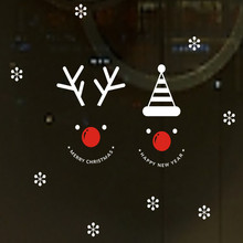 Elk Snowflake Snowman Christmas decoration wall stickers Glass window display  Home decor stickers