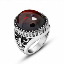 Red/Black Retro Delicate Animal Relief Embossment Titanium Stainless Steel Men Ring Vintage Jewelry Couple Rings(China)