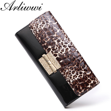 100% Real Leather Luxury Women Long Designer Top Quality Female Elegant Cluthes Purse 4 Colors Shiny Leopard Pattern Wallet(China)