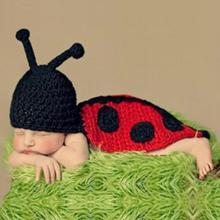 Newborn Photography Props Beetle Pattern Infant Baby Girls Boys Crochet Knitted Hat Costumes Winter Soft Baby Clothes(China)