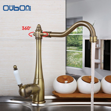 Traditional Antique Copper Finish Kitchen & Bathroom Faucet Single Handle Deck Mounted Rotatable Brass Faucets,Mixers & Taps