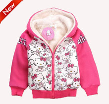 Hot sale children hello kitty hoodies kids girl sweatshirts cartoon clothing long sleeve thick fleece kids zipper outerwear coat