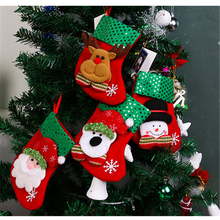 1Pcs Cloth 16cm Christmas Tree Ornaments Christmas Socks Children Candy Bag Storage Bag Creative Classroom Layout For Home Party