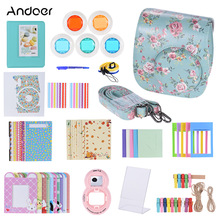 Andoer 14 in 1 Accessories Kit Camera Video Bag Case for Fujifilm Instax Mini 8 8+8s with Strap Sticker Selfie Lens Filter Album