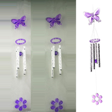 Butterfly Plastic Crystal 4 Metal Tubes Windchime Wind Chime Home Garden Decor #76477