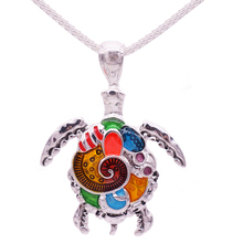 Fashion Animal Turtle Necklace & Pendants Bright Colors Enamel Tortoise Multi Necklace Women Sea Jewelry Anime Christmas Gifts(China)
