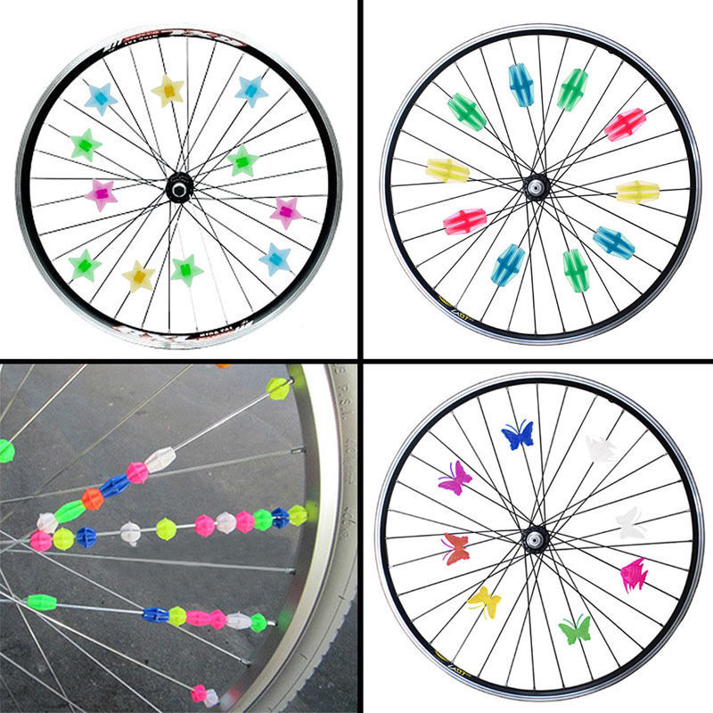 Bike Bicycle Cycling Wheel Spoke Reflector Reflective Mount Clip Tube 36pcs