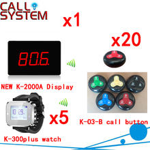 Wireless Buzzer Bell System Ycall Brand Fashion Design With Good Service For Customer( 1 display+5 watch+20 call button )(China)