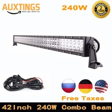 Automotive led light bar 42inch 240w 4x4 combo beam offroad led driving lights with wiring kit for Truck ATV Tractor SUV CAR